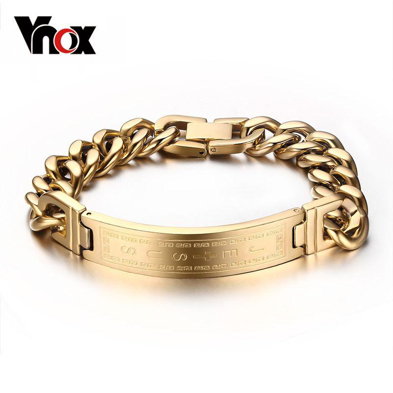 Vnox Gold-color Bracelets Bangles Fashion Men Jewelry Jesus Cross Stainless Steel Rock Jewelry
