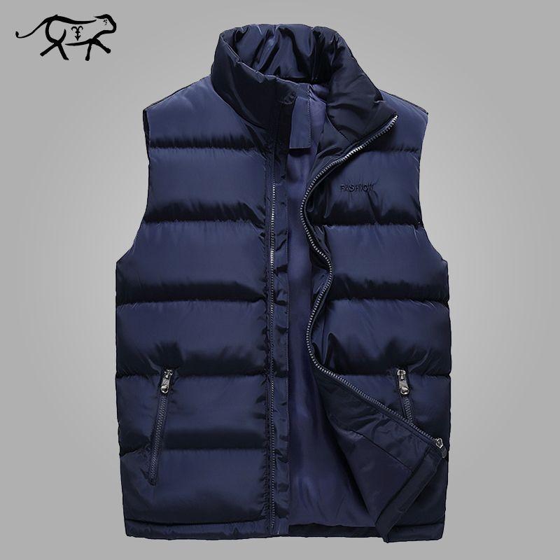 Autumn Vest Men Casual Stand Collar Men's Sleeveless Jacket Fashion Cotton Padded Winter Waistcoats Outerwear Coats Large Size