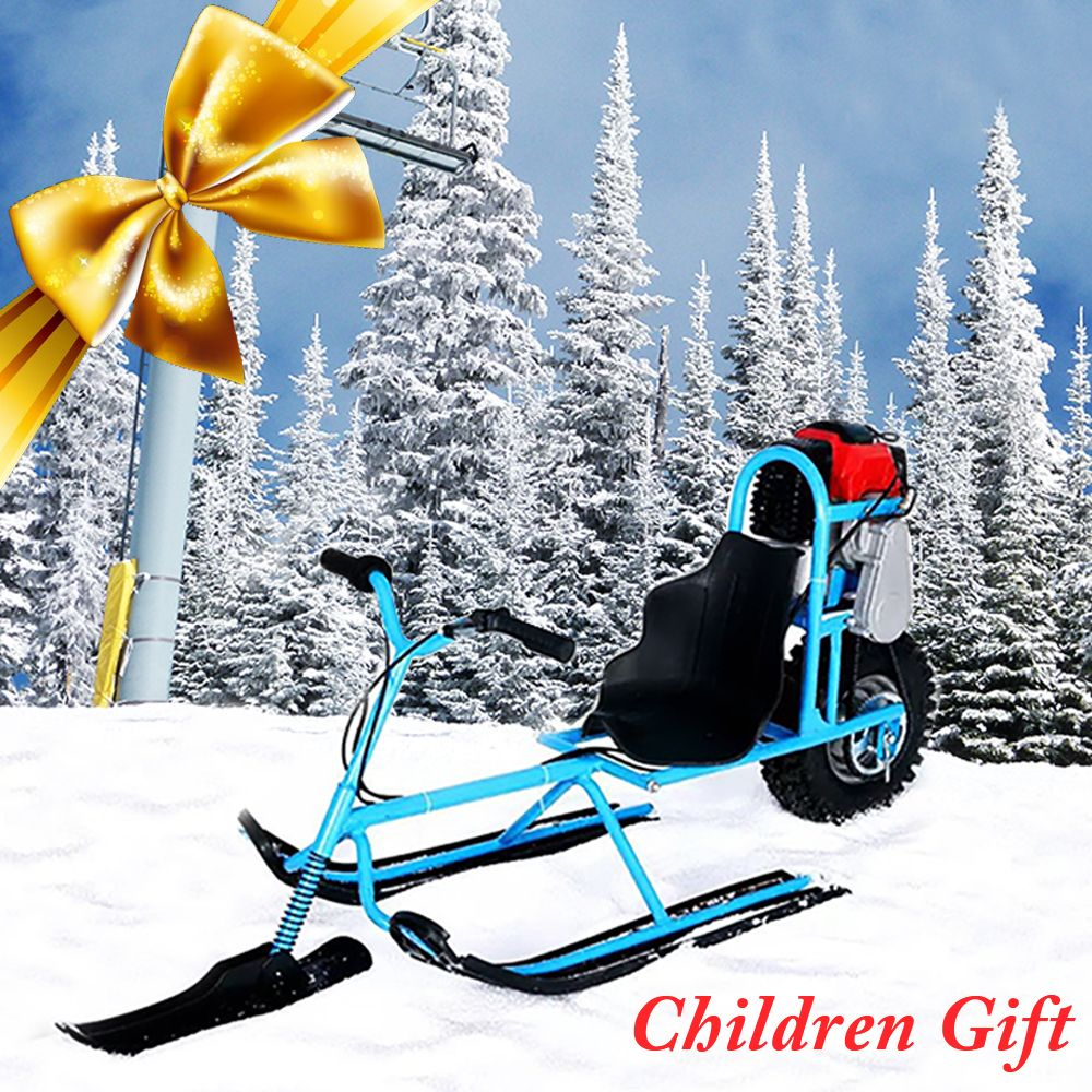 Electric Skiing Vehicle Kids Single Board Fuel Snowmobile Directional Snow Sledge Skiing Boards For Children Skiing Equipments