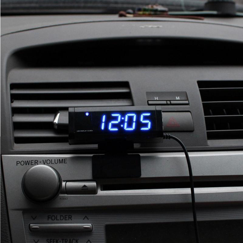Universal Car Interior Thermometer Clock Voltmeter Digital Display Calendar Car Interior Exterior Temperature Meter Car Styling