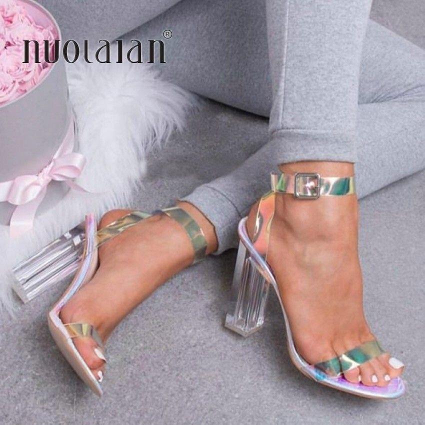 2019 femmes sandales chaussures célébrité portant Style Simple PVC Transparent à bretelles boucle sandales talons hauts chaussures femme