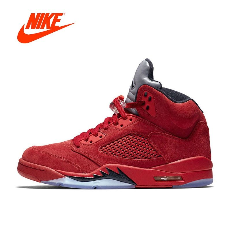 Original New Arrival Authentic Nike Air Jordan 5 red Suede AJ5 Men's Breathable Basketball Shoes Sports Sneakers
