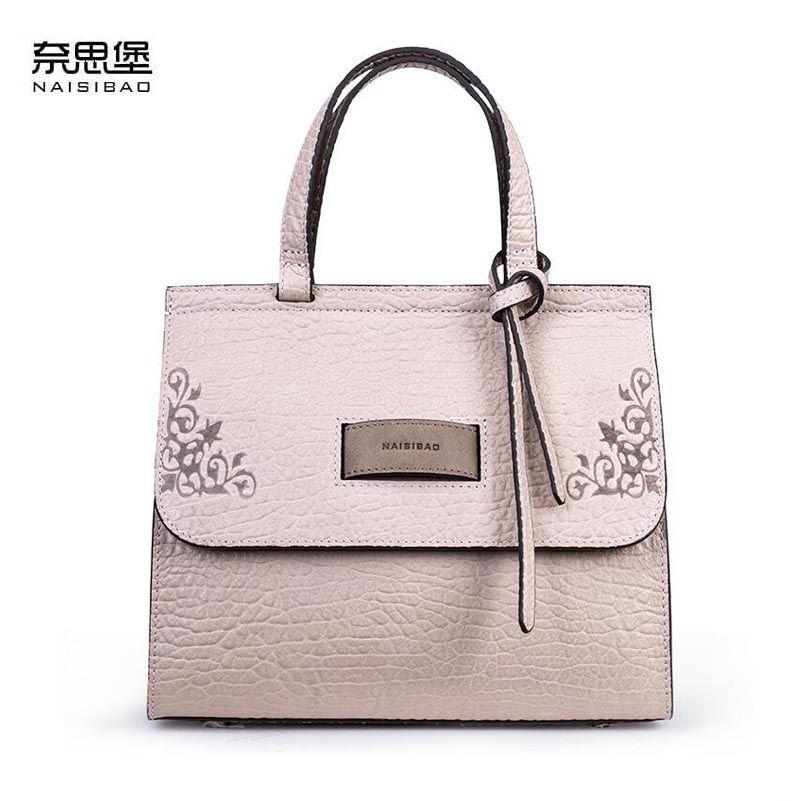 NAISIBAO 2018 New women genuine leather bag embossing fashion Luxury women handbags shoulder bag cowhide small bag