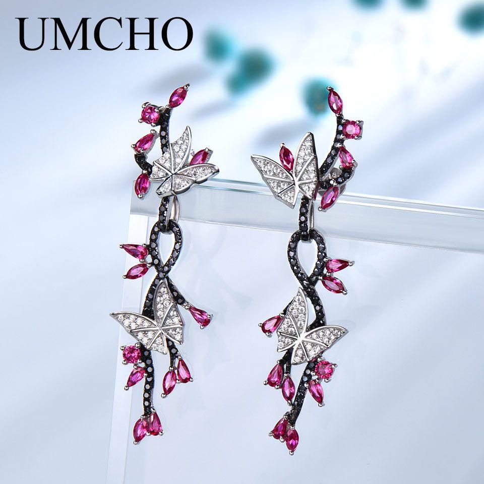 UMCHO 925 pendants d'oreille en argent massif pour les Femmes Papillon Pierre Naturelle Noir Spinelle Ruby Vintage Romantique bijoux de mariage