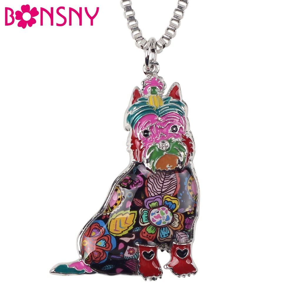Bonsny Maxi Statement Metal Alloy Schnauzer Dog Choker Necklace Chain Collar Pendant 2016 Fashion New Enamel Jewelry For Women
