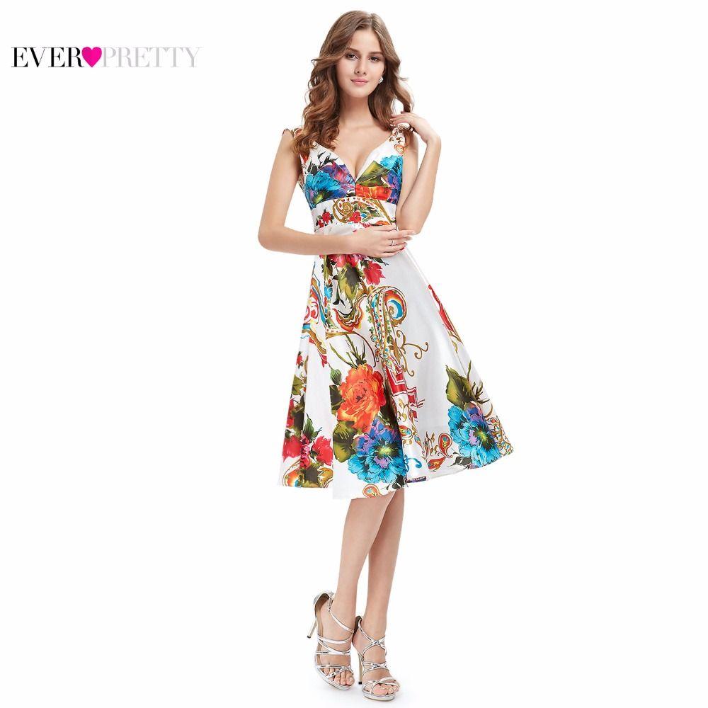 Cocktail Dresses Ever Pretty EP03381 2017 New Girl's Double V-neck Floral Print Satin Summer Dress Cocktail Dresses