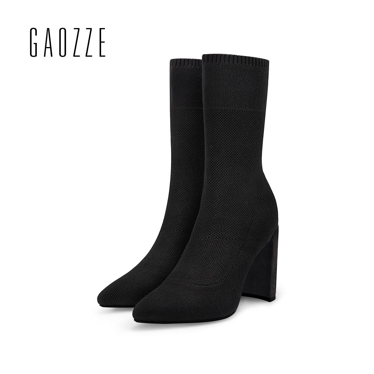 GAOZZE Fashion Women Socks Boots Mid-Calf Thick High Heels Boots Women Comfortable Elastic Knitted Fabric Female Boots Brand