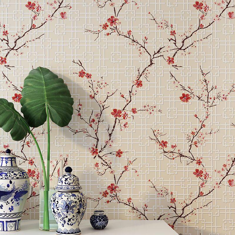 Новый китайский Стиль обои современный классический Спальня Гостиная ТВ диван красный желтый фиолетовый синий цветок нетканые обои
