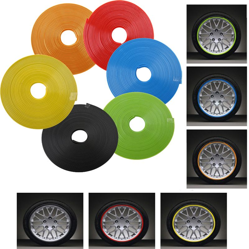 8m Car Wheel Protector Hub Sticker Car Decorative Strip Auto Rim/Tire Protection Care Covers Drop Ship Car-styling