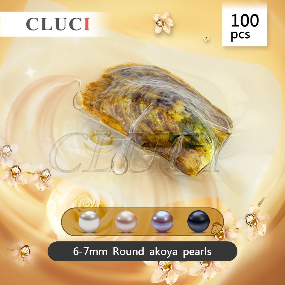 CLUCI 100pcs vacuum-packed 6-7mm round akoya pearls in oyster mixed colors white pink lavender black, AAA grade