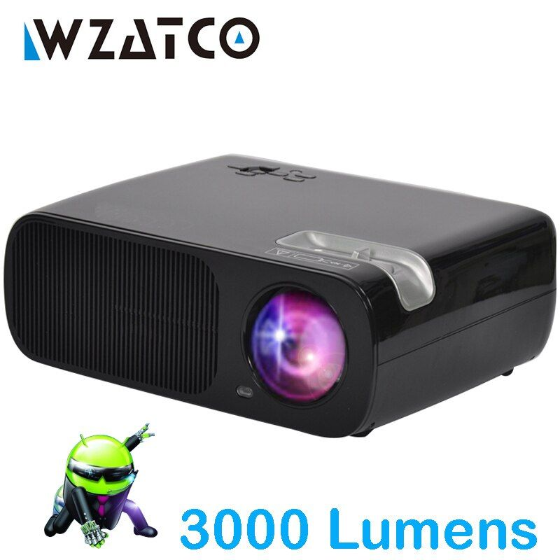 WZATCO Tragbare LED Projektor 3000 Lumen Android Wifi Smart Unterstützung full hd home cinema TV theater video projecteur 3D LCD beamer