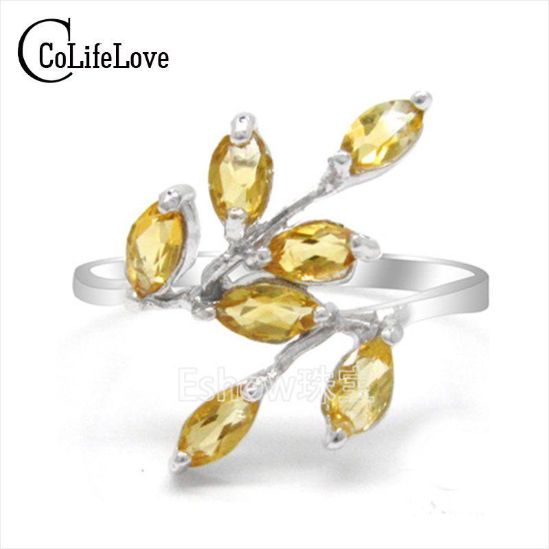 Mode cristal bague en argent pour femme naturel citrine pierres précieuses bague en argent massif 925 argent Parfait cadeau pour fille ou femme