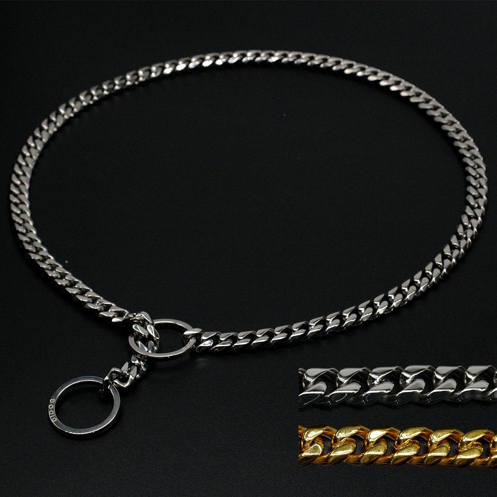Chaîne de glissement en métal de collier de starter de formation de chien d'acier inoxydable avec le lien de 3mm pour le bouledogue de Pitbull avec le cadeau gratuit 7 tailles