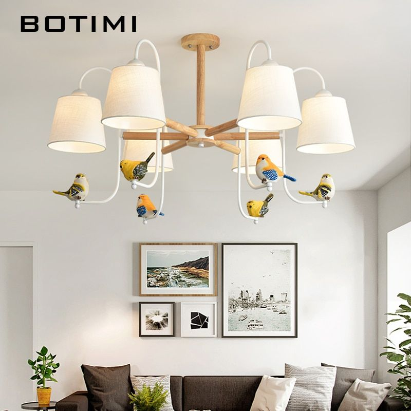 BOTIMI Stoff LED Kronleuchter Für Wohnzimmer bunte Vögel Kronleuchter Beleuchtung Weiß Lustre Schlafzimmer Glanz Holz Hängen Lampen