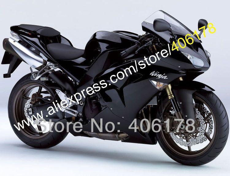 Heiße Verkäufe, arbeit Bodys Für Kawasaki Ninja ZX-10R 2006 2007 ZX10R 06 07 ZX 10R Volle Schwarz Motorrad Verkleidungen (spritzguss)