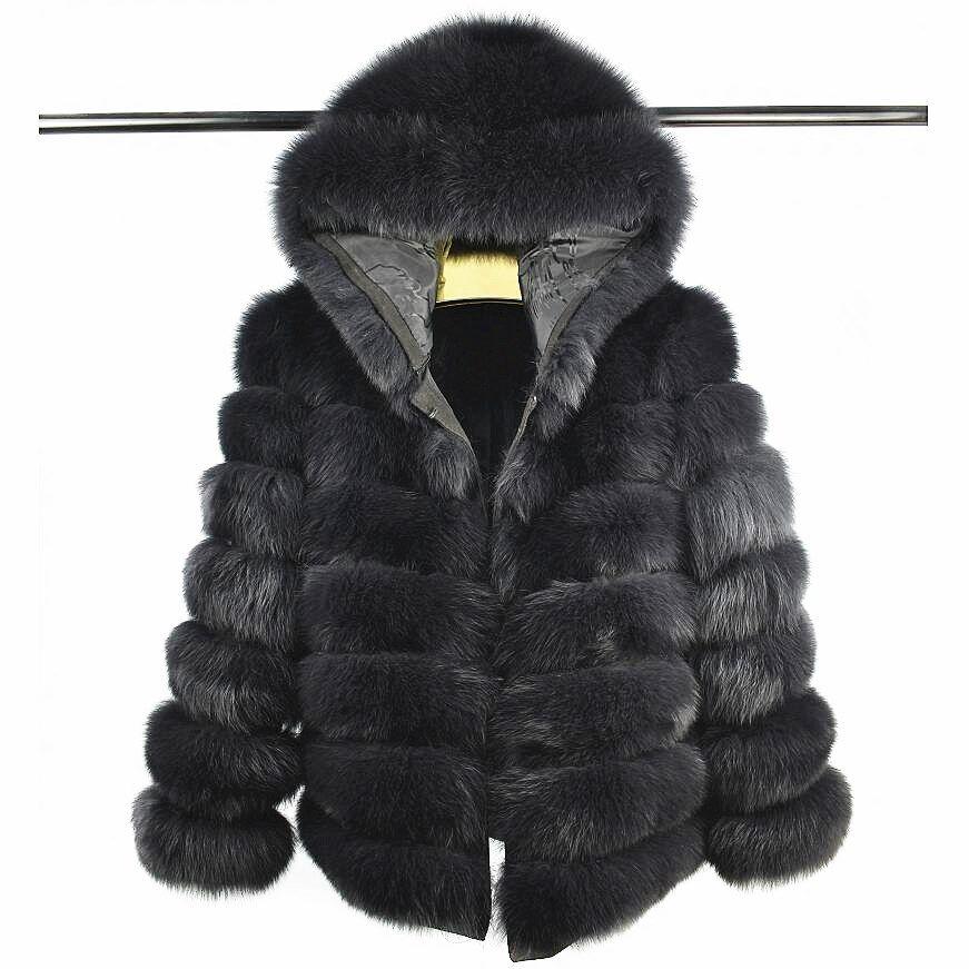 2018Women's Natürliche Fuchs Pelz mit Kurzen Hut Hülsen Abnehmbare Vier-in-one Echte Fuchs Pelzmantel Europäischen Ständer winter Warme Mode C