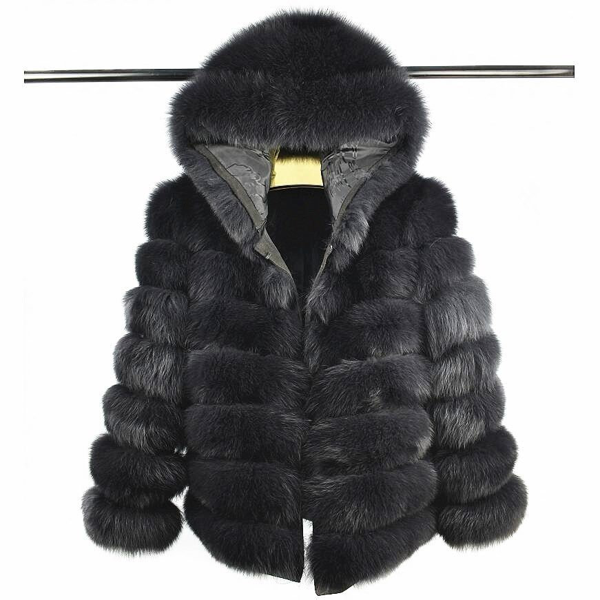 2018Women's Natural Fox Fur with Short Hat Sleeve Detachable Four-in-one Real Fox Fur Coat European Stand Winter Warm Fashion C