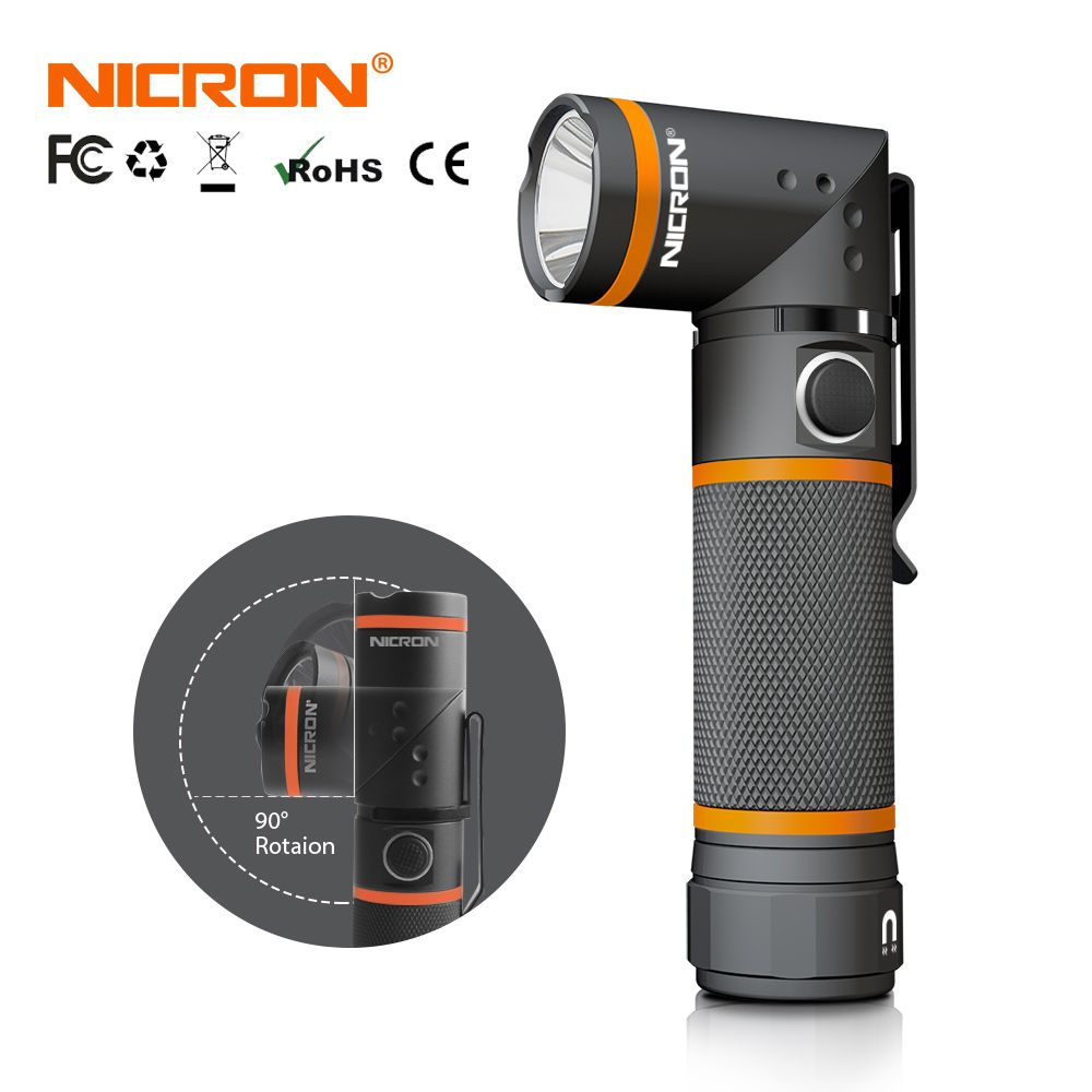 NICRON LED Flashlight Ultra Bright High Brightness Waterproof 3 Modes 300LM CREE LED Handfree <font><b>Torch</b></font> Magnet 90 Degrees Light N72