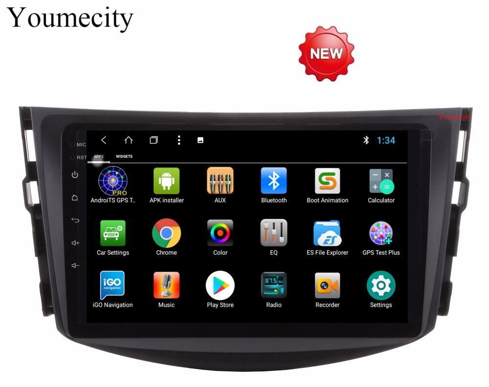 Youmecity NEW !!!Android 8.1 car dvd player for Toyota RAV4 Rav 4 2007 2008 2009 2010 2011 2 din 1024*600 car dvd gps wifi rds