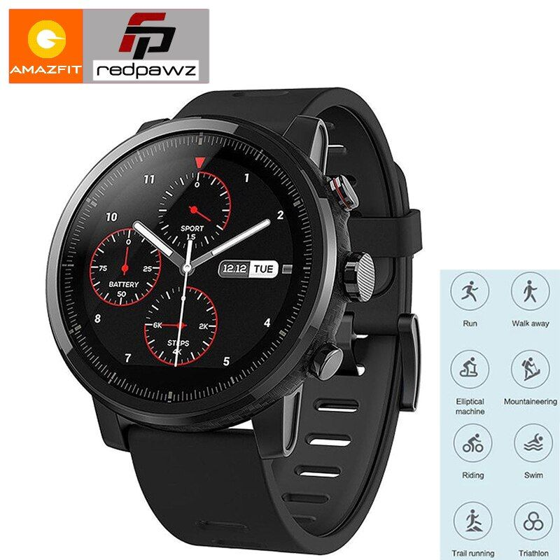 Huami Amazfit Smart Sports Watch 2 Health Tracker GPS 5ATM Waterproof 1.34'' 2.5D TouchScreen GPS Firstbeat English Version