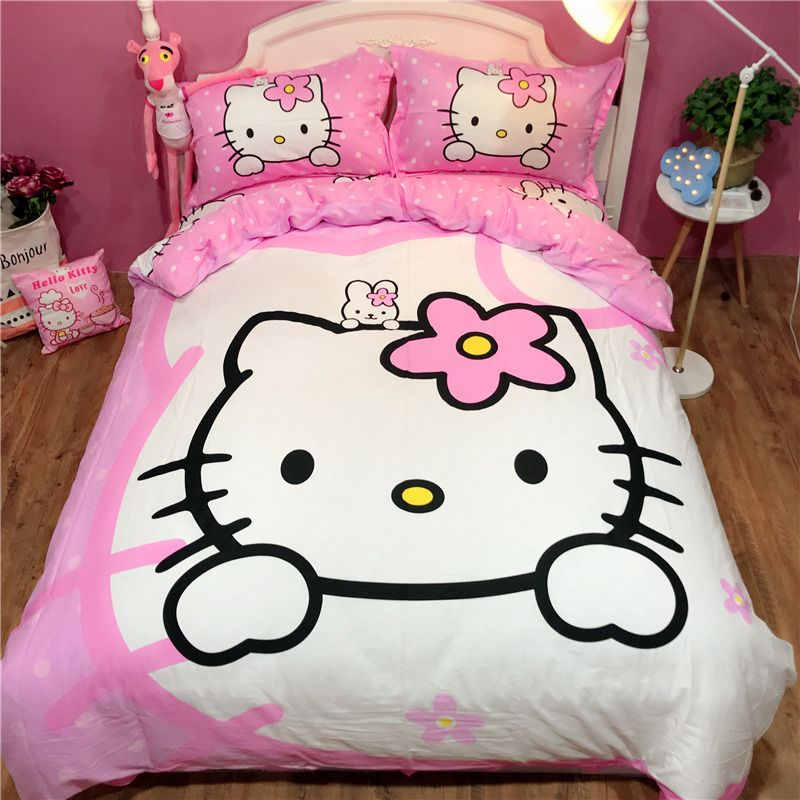 100% cotton Sweet and lovely hello kitty bedding sets twin full queen king cat pink duvet cover bed sheet pillowcase bedclothes