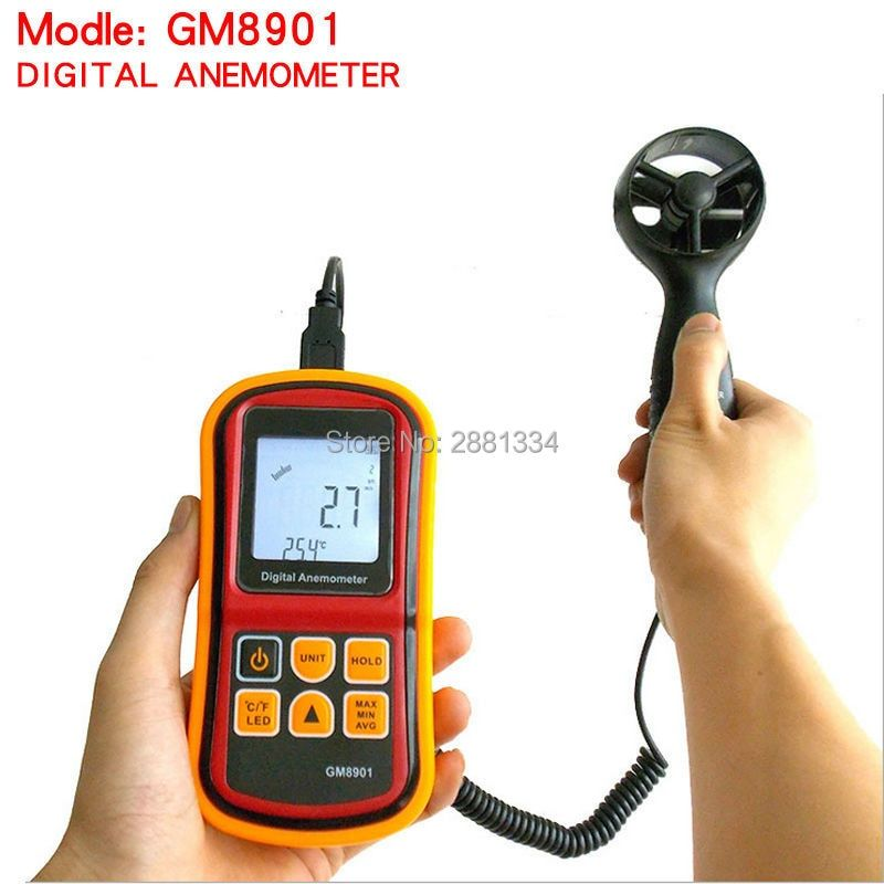 2017 hot sale GM8901 Anemometer 45ms (88MPH) LCD Digital Thermometer Electronic Hand-held Wind Speed Gauge Meter