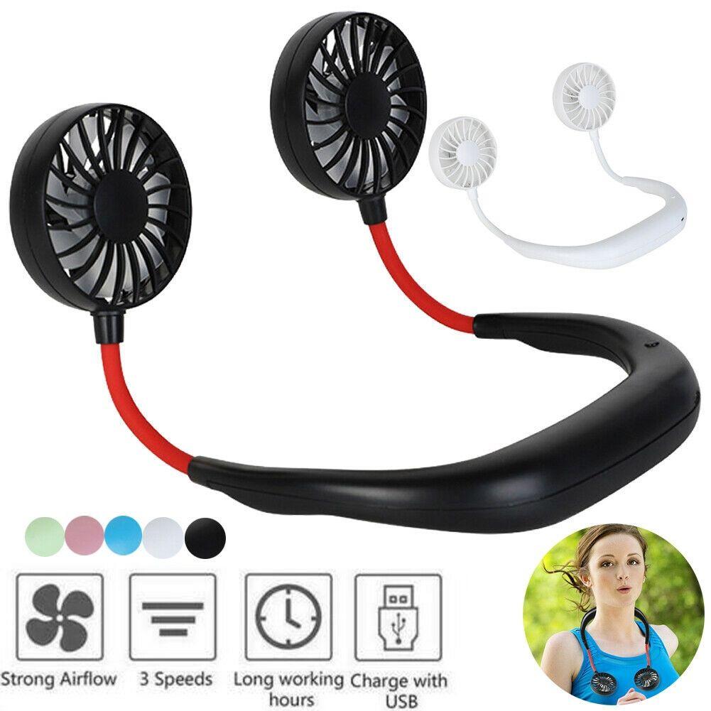 USB Portable Fan Wearable Portable Hand Free Neckband Fan Mini Rechargeable Fans 3 Speed Adjustable for Home Office N30C