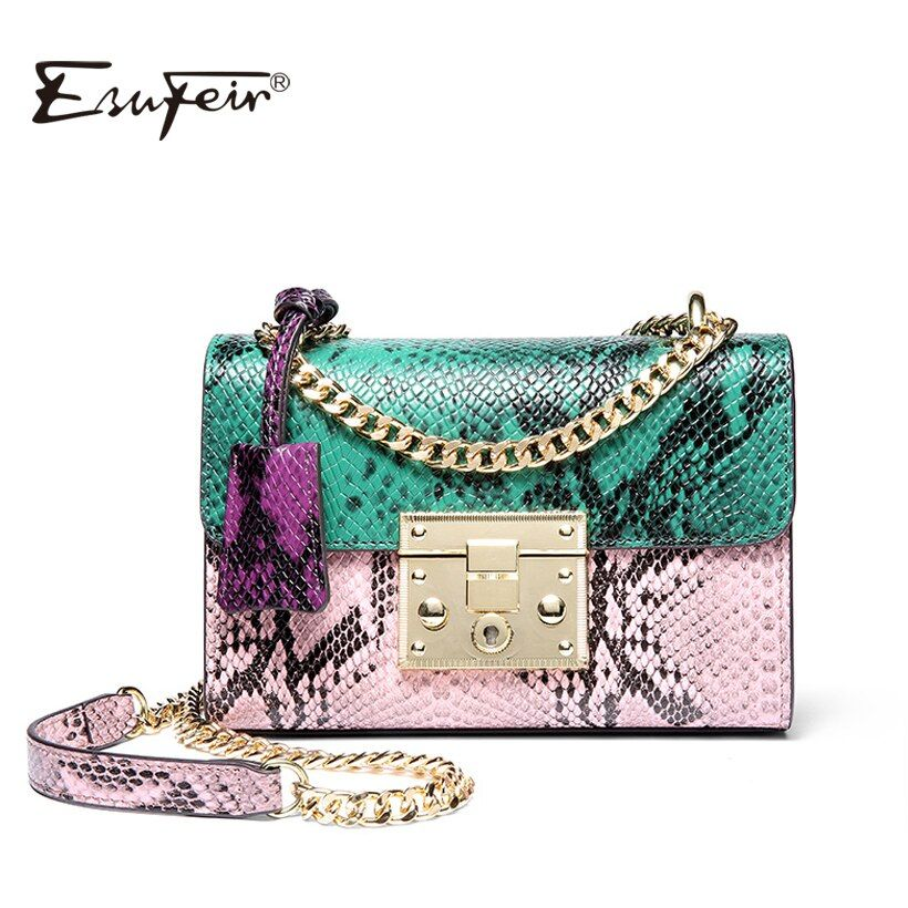 ESUFEIR Brand Women Messenger Bag Genuine Leather Serpentine Panelled Crossbody Bag Fashion design Shoulder Bag Chains Women Bag