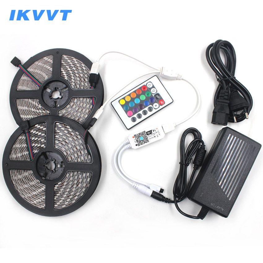 IKVVT WIFI 12V LED Strip RGB Tira led Ribbon Emitting Diode Tape Neon Light Power Supply 12V 24 Remote WIFI Wireless Controller