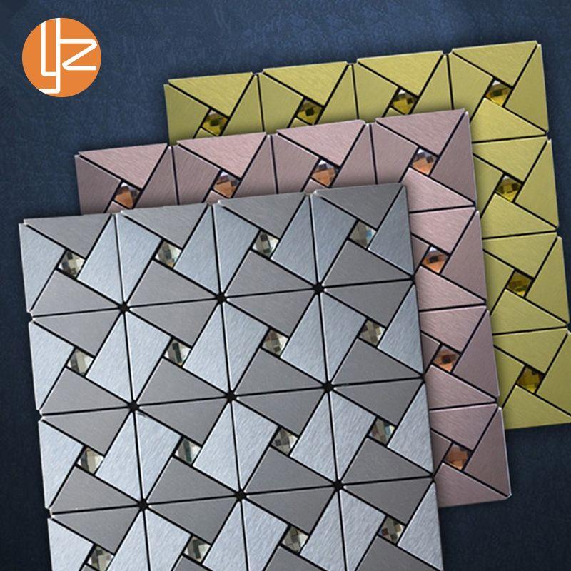 Yazi métal 3D Stickers muraux décor à la maison salon aluminium panneau Composite papier peint 30x30 cm épaisseur mur chambre Decoracion 4 pièces