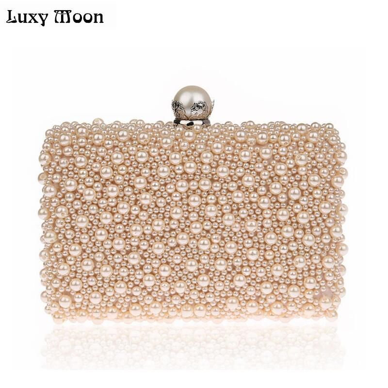 LUXY MOON Full Pearls Evening Bags Beaded Day Clutches Wedding Bride Mini Handbag Elegant Party Bag Chain shoulder bags tote