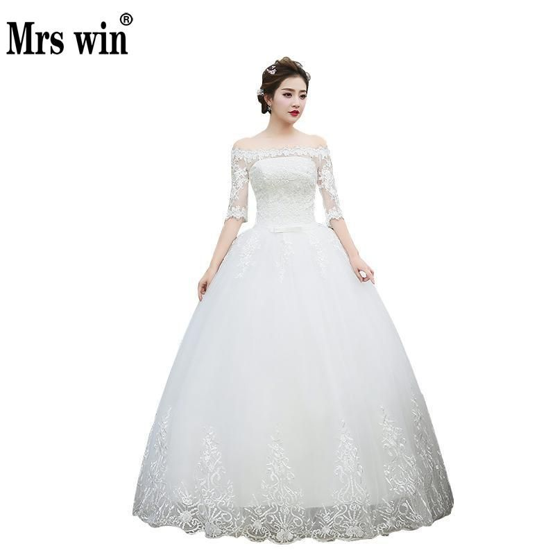 Wedding Dresses 2017 The Bride Half Sleeve Elegant Boat Neck Luxury Lace Embroidery Off The Shoulder Princess Classic Ball Gown