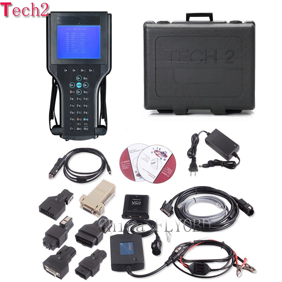 Top Quality tech2 diagnostic tool with 32mb tech 2 software Memory card for 6 brand vehicles opel tech2 scanner with plastic box
