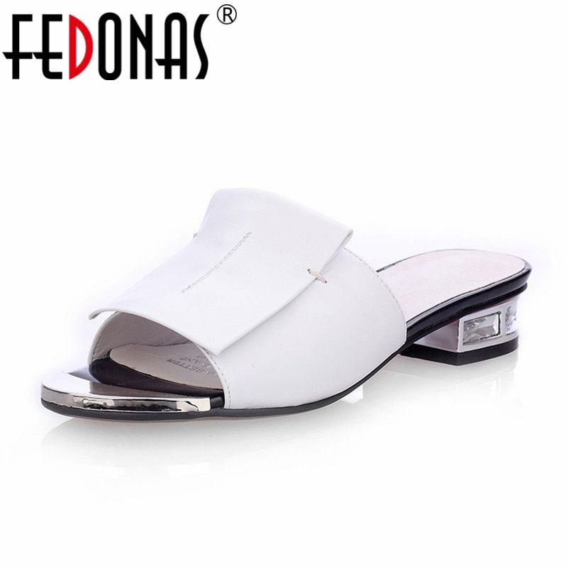 FEDONAS New Summer High Quality Square Heels Genuine Leather Shoes Women Sandals Ladies Flat White Black Open Toe Ladies Slipper