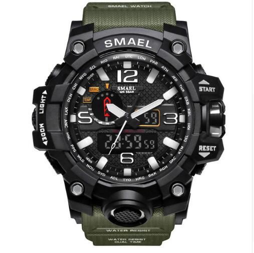 SMAEL Military Watch 50M Waterproof Wristwatch Led Quartz Clock Sport Watch Male Relogios Masculino 1545 Sport S Shock Watch Men