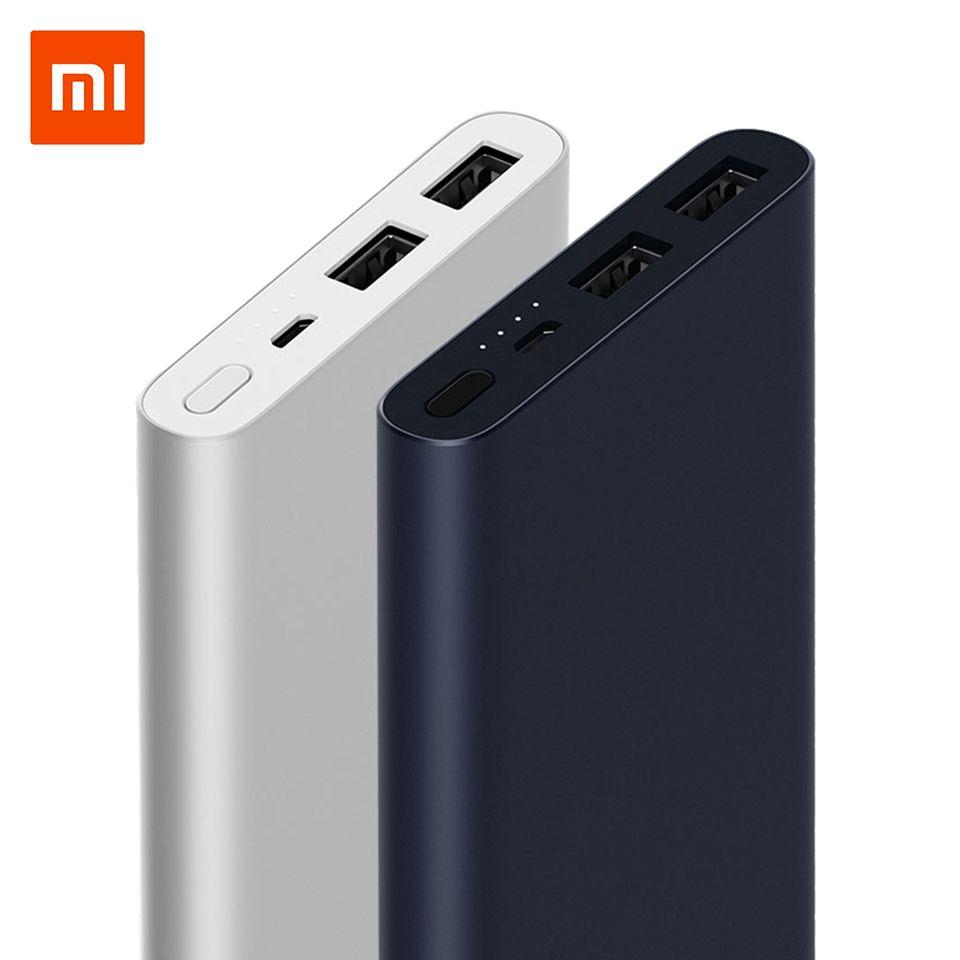 10000mAh Original Xiaomi Power Bank 2 Quick Charge Powerbank Dual-USB Portable Aluminium Fast Charging Mi Power External Battery