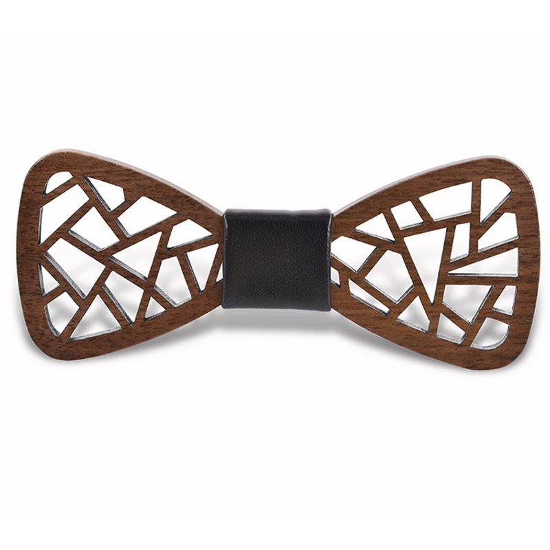 2017 new design irregular hollow carved wooden bow tie suit leisure dinner solid wood bow tie wooden
