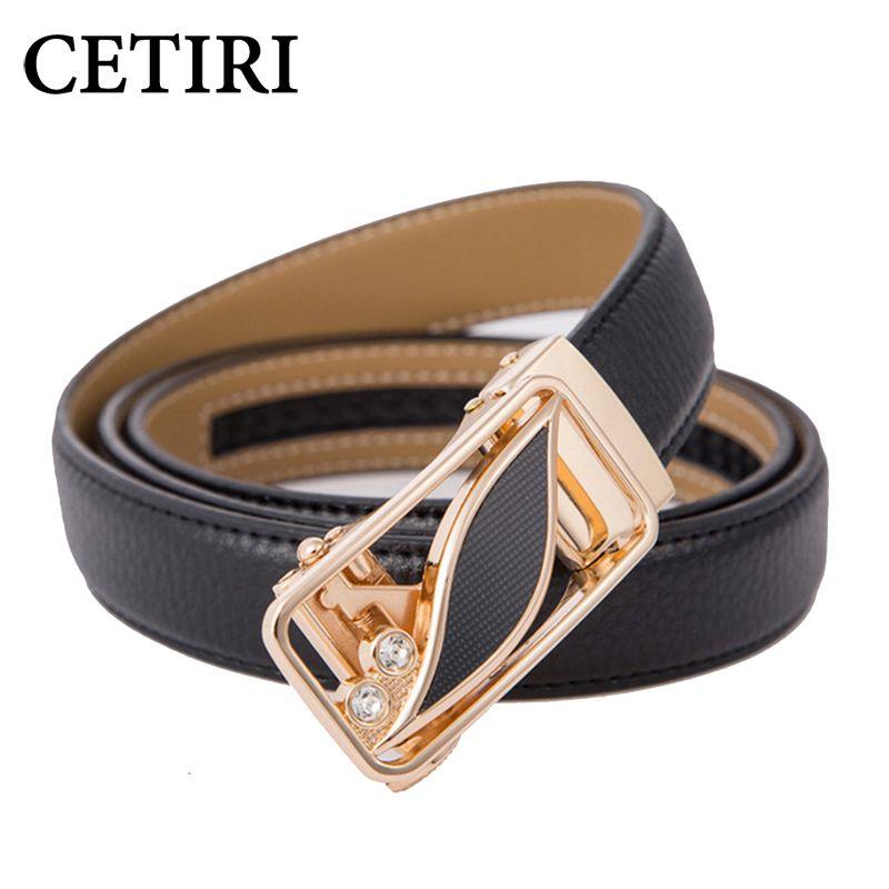 CETIRI 24 Style mode feuille automatique boucle ceinture femmes haute qualité en cuir ceintures femme sangle taille grande taille 90-120 cm ceintures