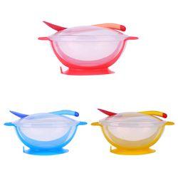 3 Pcs/ensemble Bébé Vaisselle De Vaisselle Bol D'aspiration avec Détection de Température Cuillère bébé alimentaire Bébé D'alimentation Bols plats