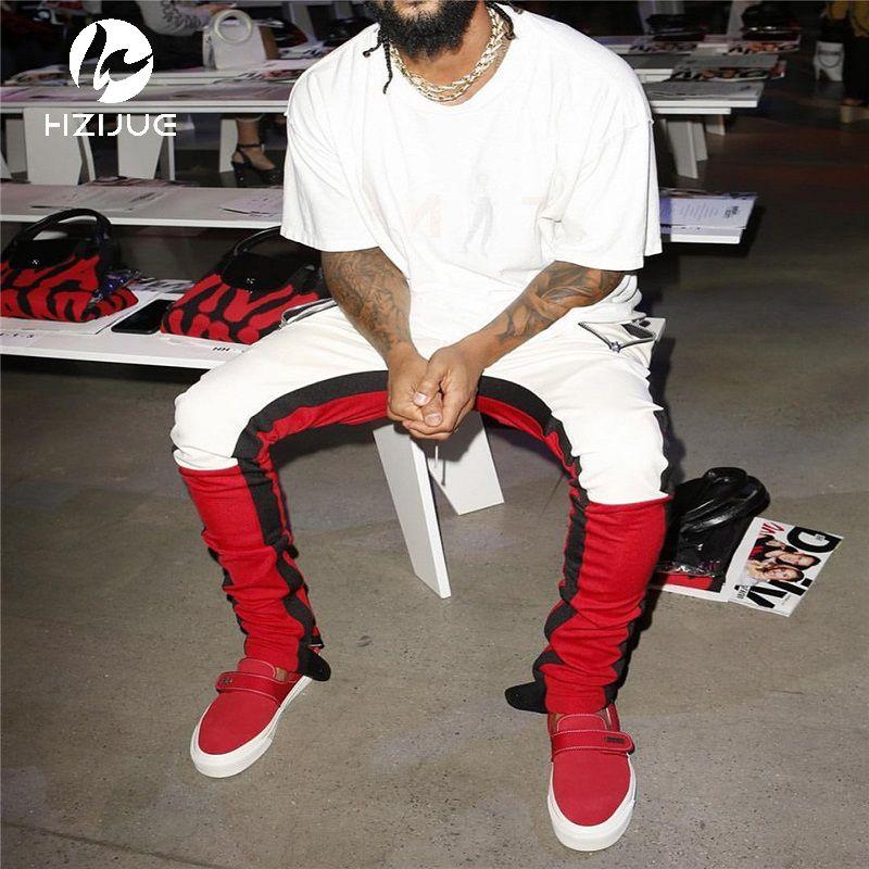 Vintage Color Block Patchwork Sweatpants 2018 Men's Hip Hop Side Zipper Casual Elastic Waist Joggers Pants Streetwear