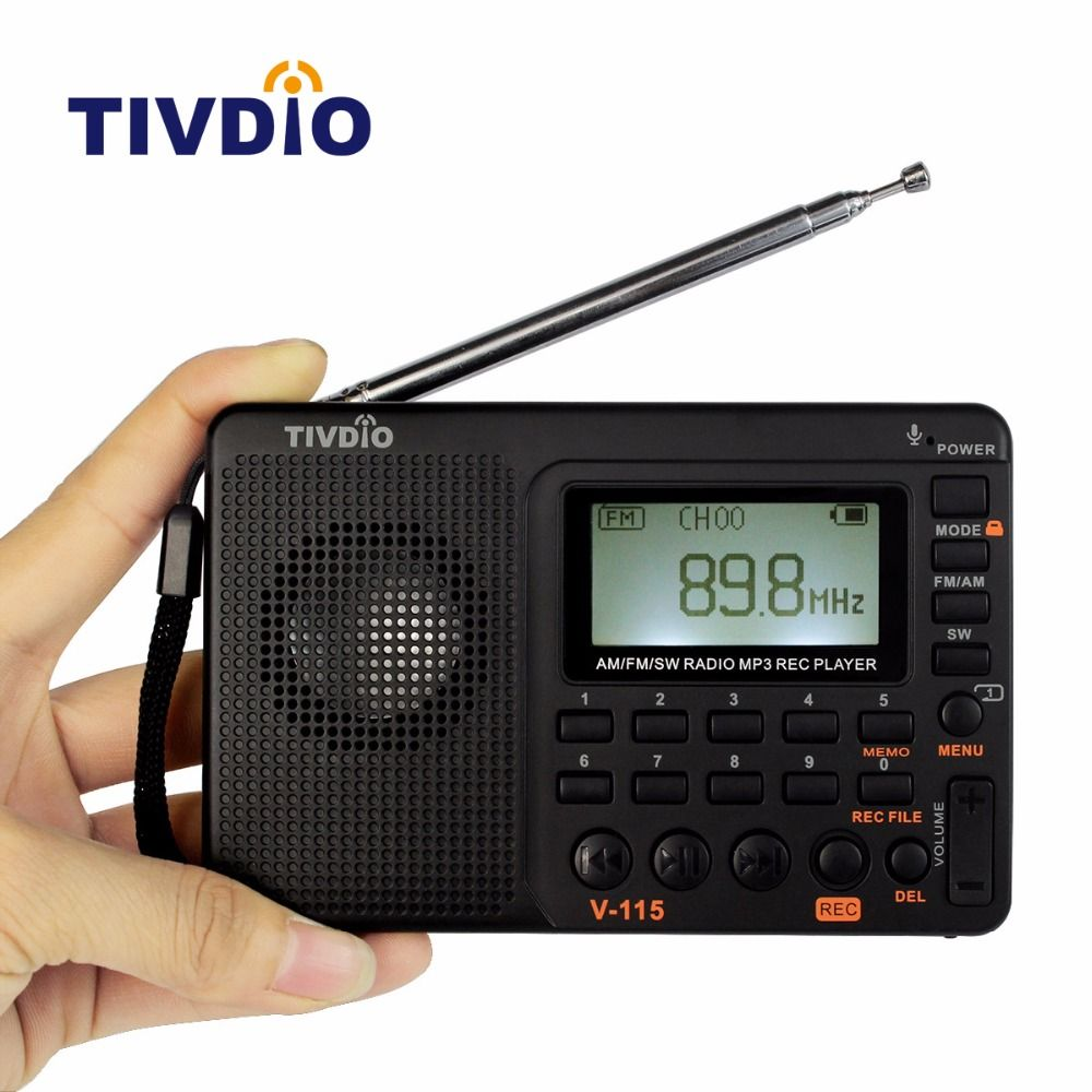 TIVDIO V-115 FM/AM/SW Radio Multiband Radio Receiver Bass Sound MP3 <font><b>Player</b></font> REC Recorder Portable Radio with Sleep Timer F9205A