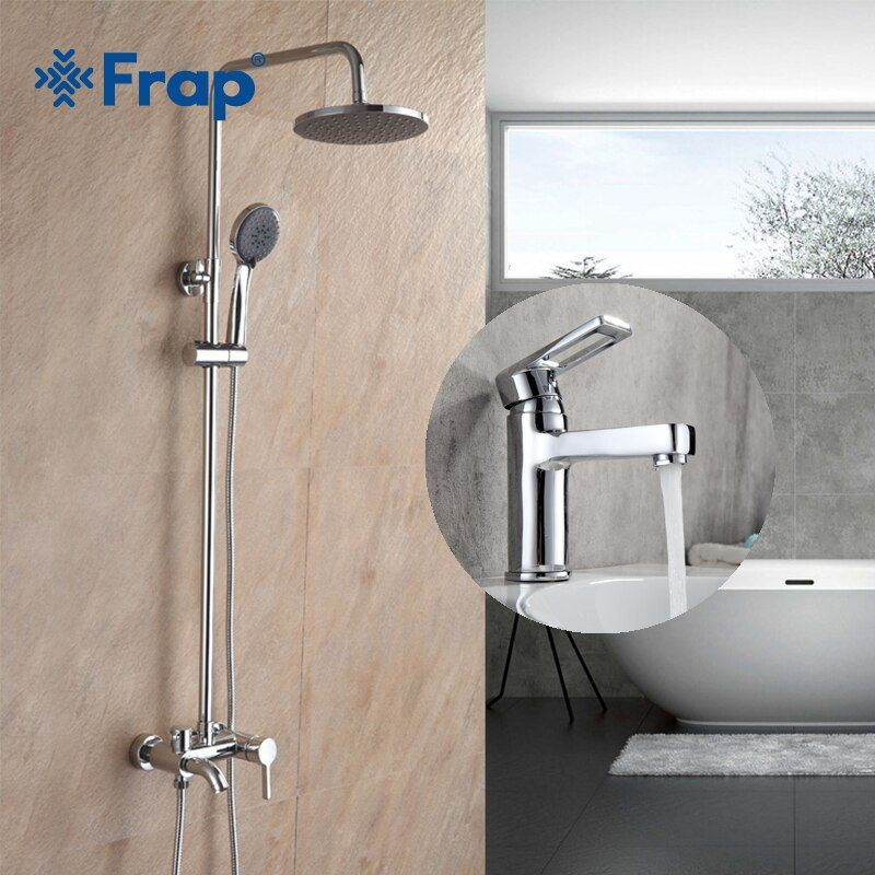 Frap Contemporary Bathroom Combination Brass Widespread Basin Faucet and Shower Faucet set Cold and Hot Mixer Tap F2416 F1072