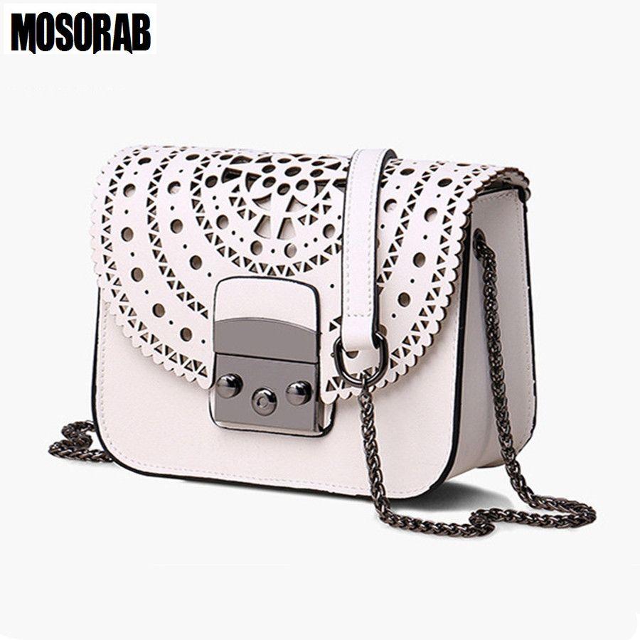 MOSORAB Fashion Women Small Bags Hollow Out Leather Women Crossbody Bag Famous Brand Ladies Messenger Shoulder Bag Clutch Purse