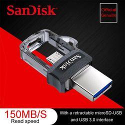 Sandisk SDDD3 Double OTG USB Flash Drive 64 GB Pen Drives 16 GB haute vitesse 150 M/S PenDrives 32 GB OTG USB 3.0 128 GB USB Bâton