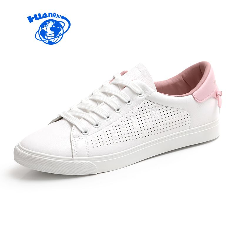 HUANQIU Women White Shoes with Holes Leather Famous Brand Female Casual Shoes <font><b>Tails</b></font> 2017 New Fashion Leisure Flats Breathable