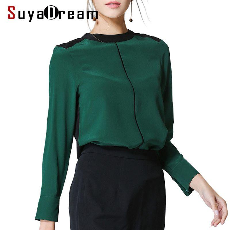 Women SILK SHIRT 100%Natural silk Long sleeved Office Lady Shirt 2017 Fall Winter New Top shirt White Red