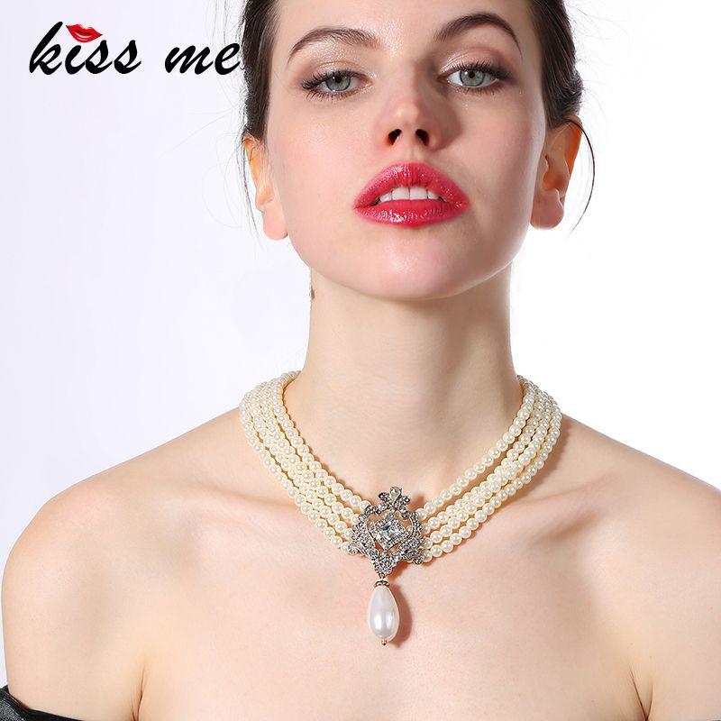 Partie Pop Noble Scintillant Robe Accessoires Haut de gamme Multicouche chaîne de perles Femmes Simulé collier de perles Usine En Gros