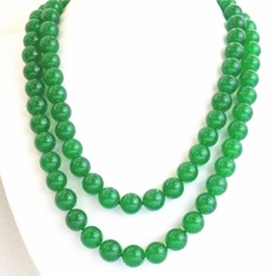 Wholesale price women long 35inch 10mm natural green chalcedony jades round beads chain necklace fashion clothes jewels BV438