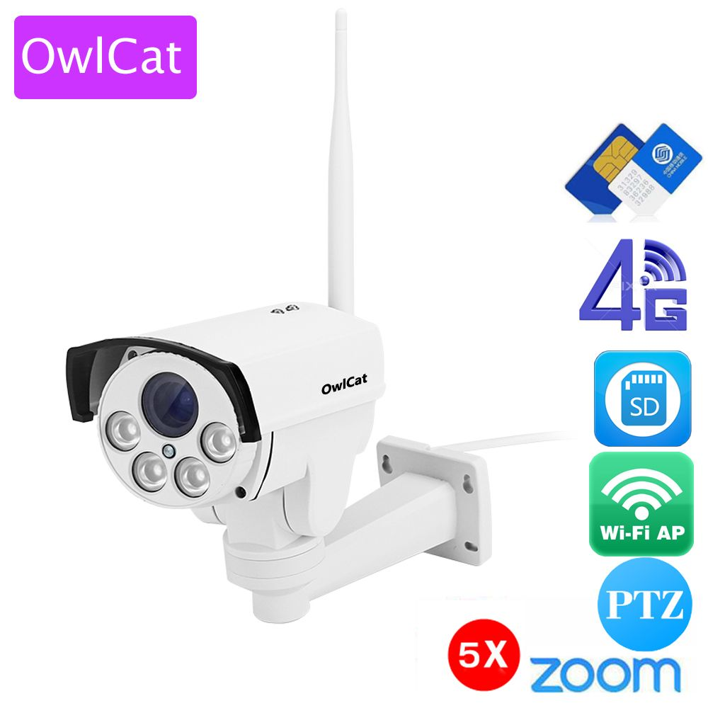 OwlCat HD 960P 1080P 4G SIM card IP Camera Wifi Outdoor Bullet PTZ 5X Zoom Pan Tilt Video Camera Wireless Hotspot AP Motion