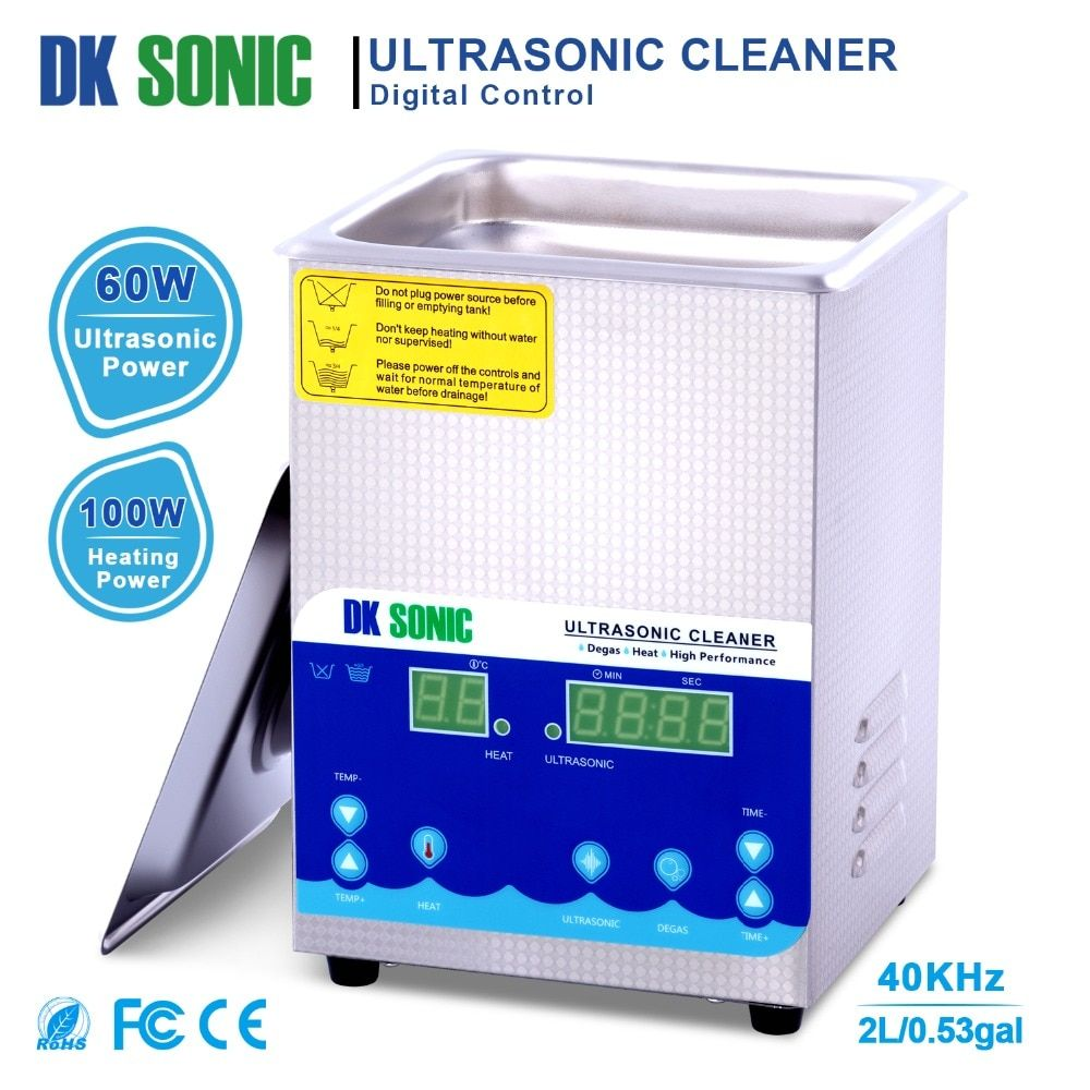 DK SONIC 2L 60W Ultrasonic Cleaner Degas Heating Timer Ultrasound for Coins Jewelry Metal Parts Manicure Tools Dental Eyeglasses